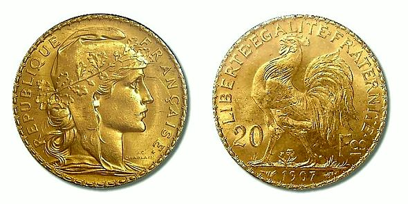 French Rooster 20 Franc Coin